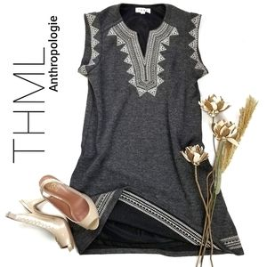 THML  Anthro Gray Aztec Sweater Shift Dress S
